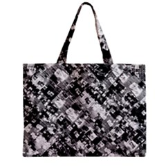 Black And White Patchwork Pattern Zipper Mini Tote Bag