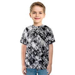 Black And White Patchwork Pattern Kids  Sport Mesh Tee