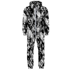 Black And White Patchwork Pattern Hooded Jumpsuit (men)