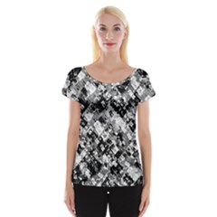 Black And White Patchwork Pattern Cap Sleeve Tops
