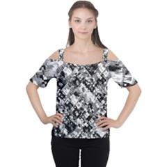 Black And White Patchwork Pattern Cutout Shoulder Tee