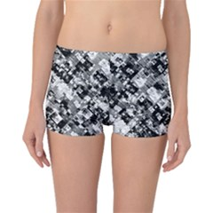 Black And White Patchwork Pattern Boyleg Bikini Bottoms