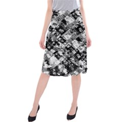 Black And White Patchwork Pattern Midi Beach Skirt