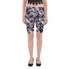 Black And White Patchwork Pattern Yoga Cropped Leggings