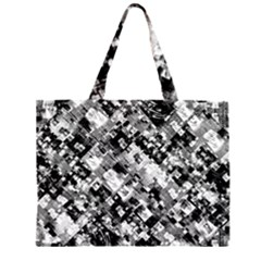 Black And White Patchwork Pattern Zipper Large Tote Bag