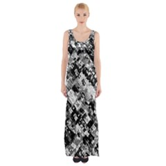 Black And White Patchwork Pattern Maxi Thigh Split Dress