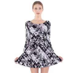 Black And White Patchwork Pattern Long Sleeve Velvet Skater Dress