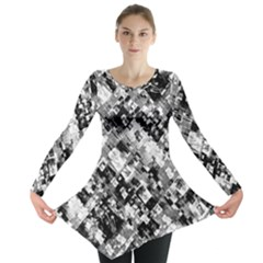 Black And White Patchwork Pattern Long Sleeve Tunic