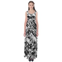 Black And White Patchwork Pattern Empire Waist Maxi Dress