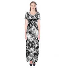 Black And White Patchwork Pattern Short Sleeve Maxi Dress