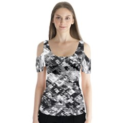 Black And White Patchwork Pattern Butterfly Sleeve Cutout Tee
