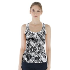 Black And White Patchwork Pattern Racer Back Sports Top