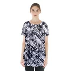Black And White Patchwork Pattern Skirt Hem Sports Top