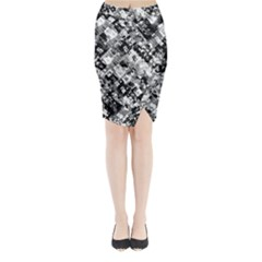 Black And White Patchwork Pattern Midi Wrap Pencil Skirt
