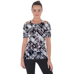 Black And White Patchwork Pattern Short Sleeve Top