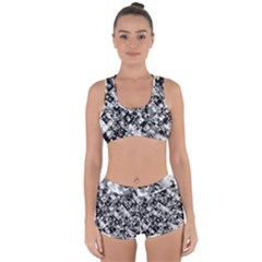 Black And White Patchwork Pattern Racerback Boyleg Bikini Set