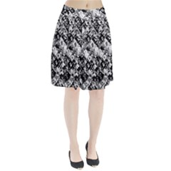 Black And White Patchwork Pattern Pleated Skirt