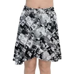 Black And White Patchwork Pattern Chiffon Wrap