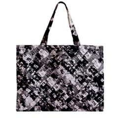 Black And White Patchwork Pattern Zipper Medium Tote Bag