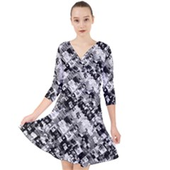 Black And White Patchwork Pattern Quarter Sleeve Front Wrap Dress
