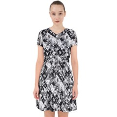 Black And White Patchwork Pattern Adorable In Chiffon Dress