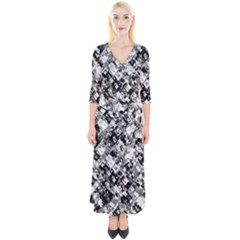 Black And White Patchwork Pattern Quarter Sleeve Wrap Maxi Dress