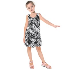 Black And White Patchwork Pattern Kids  Sleeveless Dress