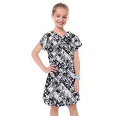 Black And White Patchwork Pattern Kids  Drop Waist Dress