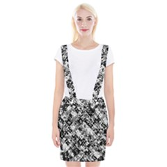 Black And White Patchwork Pattern Braces Suspender Skirt