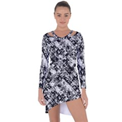 Black And White Patchwork Pattern Asymmetric Cut Out Shift Dress