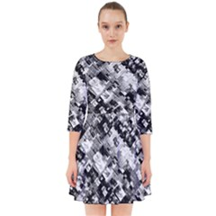 Black And White Patchwork Pattern Smock Dress