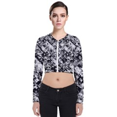 Black And White Patchwork Pattern Bomber Jacket