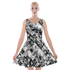 Black And White Patchwork Pattern Velvet Skater Dress