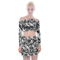 Black And White Patchwork Pattern Off Shoulder Top With Mini Skirt Set