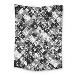 Black And White Patchwork Pattern Medium Tapestry