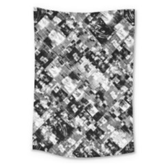 Black And White Patchwork Pattern Large Tapestry