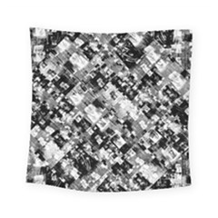 Black And White Patchwork Pattern Square Tapestry (small)