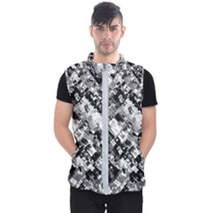 Black And White Patchwork Pattern Men s Puffer Vest
