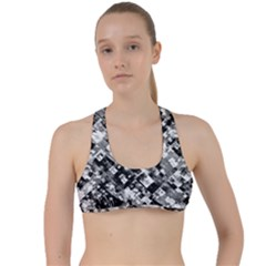 Black And White Patchwork Pattern Criss Cross Racerback Sports Bra
