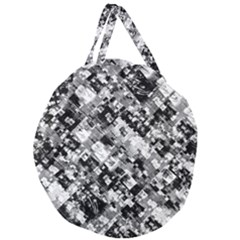 Black And White Patchwork Pattern Giant Round Zipper Tote