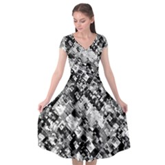 Black And White Patchwork Pattern Cap Sleeve Wrap Front Dress