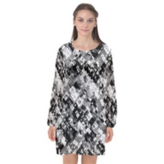 Black And White Patchwork Pattern Long Sleeve Chiffon Shift Dress
