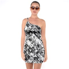 Black And White Patchwork Pattern One Soulder Bodycon Dress
