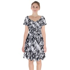 Black And White Patchwork Pattern Short Sleeve Bardot Dress