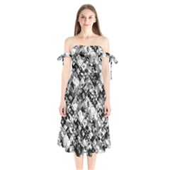 Black And White Patchwork Pattern Shoulder Tie Bardot Midi Dress