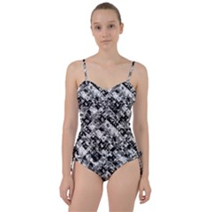 Black And White Patchwork Pattern Sweetheart Tankini Set