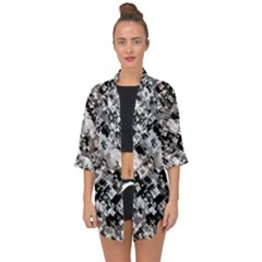 Black And White Patchwork Pattern Open Front Chiffon Kimono