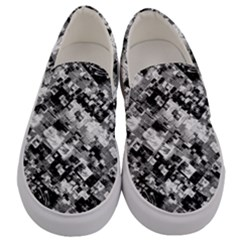 Black And White Patchwork Pattern Men s Canvas Slip Ons
