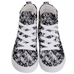 Black And White Patchwork Pattern Kid s Hi Top Skate Sneakers
