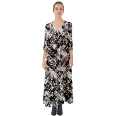 Black And White Patchwork Pattern Button Up Boho Maxi Dress